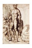 Hercules Turned to the Left, Leaning on His Club, Holding Drapery Giclee Print by Baccio Bandinelli