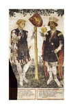 Valerano and Thomas Ii, Heroes, Detail from the Frescoes in the Baronial Hall Giclee Print by Giacomo Jaquerio