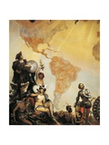 Christopher Columbus and the Discovery of America Giclee Print by Cesare Dell'acqua