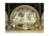 Lunette of Three Fates, Detail of Decoration from St. Paul's Chamber or Abbess' Chamber, 1519-1520 Giclee Print by Antonio Allegri Da Correggio