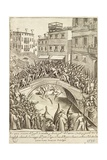 The Battle Between Residents of Castellana and Nicolotta for the Conquest of a Bridge in Venice Giclee Print by Giacomo Franco