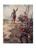 """ 'I'll Be the Bravest Man in the Fight' Says Brave Lord Willoughby"" Giclee Print by Archibald Webb"