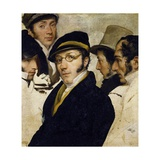 Self-Portrait with Friends Migliara, Palagi, Grossi, Molteni Giclee Print by Francesco Hayez