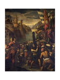 Italy, Venice, Doge's Palace, Ballot Hall, Venetians and Crusaders Conquering Tyre, 1123 Giclée-Druck von Antonio Vassilacchi