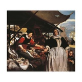 Adriana Van Heusden and Daughter at New Fishmarket in Amsterdam, Circa 1662 Giclee Print by Emanuel de Witte