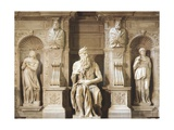 Moses Being Flanked by Leah and Rachel Representing Active Life and Contemplative Life Giclee Print by Michelangelo