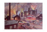 Factory with Blast Furnace Giclee Print by August Dressel
