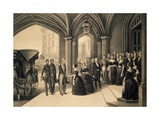 Louis-Philippe's Journey in England, 1844, King Being Received at Windsor Castle, October 8, 1844 Giclee Print by Edouard Pingret