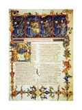 Illuminated Page from the Divine Comedy, Inferno, Canto I Giclee Print by Dante Alighieri