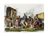 Argentinian Peons Resting at Fire, Engraving from Manners and Customs of Rio De La Plata Giclee Print by Carlos Morel
