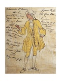 Costume Sketch for Role of Edmondo in Premiere of Opera Manon Lescaut Giclee Print by Giacomo Puccini
