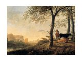 Evening River Landscape with a Cowherd and Cows by the Edge of a Copse, a Bridge and Ruins Beyond Giclee Print by Abraham van Calraet