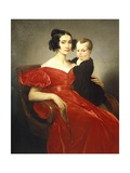 Portrait of Teresa Zumali Marsili with Her Son Giuseppe Giclee Print by Francesco Hayez