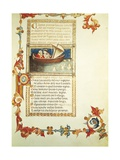 Illuminated Page with Opening Words of Purgatory from Divine Comedy Giclee Print by Dante Alighieri