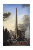 Visit of Pope Innocent X to Fountain of Rivers at Piazza Navona, Circa 1651 Giclee Print by Filippo Gagliardi