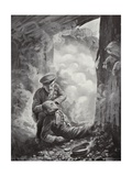 Acting Sergeant John Raynes Putting His Smoke-Helmet on Sergeant Ayres Giclee Print by Alfred Pearse