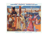 Poster Advertising the 'Compagnie Generale Transatlantique' Boat Service Giclee Print by David Dellepiane