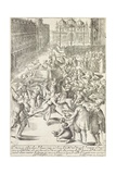 The Prince Elect on a Small Stage of the Arsenal in Venice Throwing Money at the Public, 1610 Giclee Print by Giacomo Franco