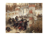Defence of Longboyau's Gate, Chateau of Buzenval, October 21, 1870 Giclee Print by Alphonse De Neuville