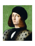 Portrait of a Young Gentleman, Bust-Length, Wearing a Black Cap and Black Coat, 1506 Giclee Print by Andrea Previtali