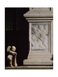 Relief with Angels Playing Musical Instruments and Cherub Statue Coat-Of-Arms Holder Giclee Print by Agostino Di Duccio