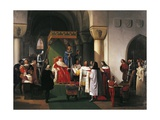 Filippo Maria Visconti, Duke of Milan Returns Crown to Kings of Aragona and of Navarra Giclee Print by Francesco Hayez