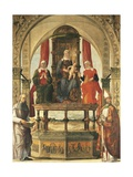 Enthroned Madonna with Child and the Saints Anne, Elizabeth, Augustine and Blessed Peter Giclee Print by Ercole de Roberti