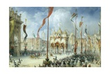 King Victor Emmanuel II Attending Opening of Italian Parliament Giclee Print by Carlo Bossoli