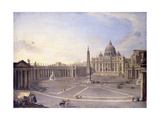 A View of St. Peter'S, Rome with Bernini's Colonnade and a Procession in Carriages Giclée-tryk af Antonio Joli
