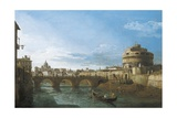 Tiber River and Castel Sant'Angelo, Rome, Circa 1742 Giclee Print by Bernardo Bellotto