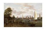 A Panoramic View of Amsterdam with a Barge and Smallships on the Buiten-Amstel Giclee Print by Abraham Storck