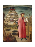 Dante Alighieri with Divine Comedy in His Hand and Mountains of Purgatory in Background Giclee Print by Dante Alighieri