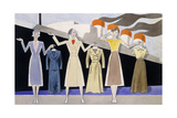 Fashion Design Showing Three Female Models Holding Up Garments on Hangers Giclee Print by Ernst Deutsch-dryden