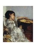 The Two Dolls or Young or Oriental Girl with Fan, 1876 Giclee Print by Antonio Mancini