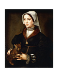 Portrait of a Lady, Three-Quarter-Length, Wearing Dark Costume, Holding a Cat Giclee Print by Ambrosius Benson