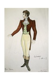 Costume Sketch by G Metelli for Role of Cavaradossi in First and Second Act of Opera Tosca Giclee Print by Giacomo Puccini