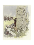 A Soldier Leans Against a Ruined Wall as He Takes Aim at the Oncoming Assault Giclee Print by Felicien Baron De Myrbach-rheinfeld