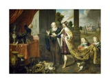 Ahasuerus, King of Persia, Showing His Treasure to Mordecai, Uncle of His Wife Esther Giclee Print by Claude Vignon