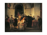Mary Queen of Scots Protesting Her Innocence before Sheriffs as Her Death Sentence Is Read Out Giclee Print by Francesco Hayez
