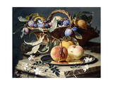 Peaches and Plums in a Wicker Basket, Peaches on a Silver Dish and Narcissi on Stone Plinths Giclee Print by Christian Berentz