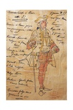 Costume Sketch for Role of Captain of Ship in Premiere of Opera Manon Lescaut Giclee Print by Giacomo Puccini