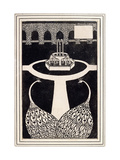 Chapter Heading Depicting Two Peacocks in a Garden with a Fountain, C.1893/4 Giclee Print by Aubrey Beardsley