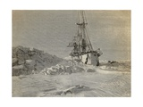 Fram on Narrow Passage Through Ice, Engraving from Report of Fram Expedition of 1893-1896 Giclee Print by Fridtjof Nansen