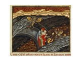 Dante and Virgil in Pit of Swindlers, Inferno, Canto XXI, Miniature from Divine Comedy Giclee Print by Dante Alighieri