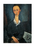 Woman in White Collar, Portrait of Lunia Czechowska, 1917 Giclee Print by Amedeo Modigliani