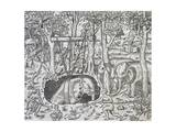 Elephant Hunting on Island of Java, Engraving from Universal Cosmology Giclee Print by Andre Thevet