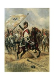 The Trophy, Soldier of the 4th French Dragoon Regiment with the Prussian Flag Giclee Print by Edouard Detaille