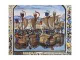 Hundred Years War, Sluis Naval Battle, Fought Between the French and British on June 24, 1340 Giclee Print by Jean Froissart