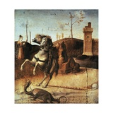 St George Killing Dragon, Detail from Predella of Pesaro Altarpiece Giclee Print by Giovanni Bellini