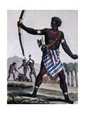 Anzikos Warrior, Africa, Engraving from Encyclopedia of Voyages, 1795 Giclee Print by Jacques Grasset de Saint-Sauveur